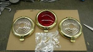 Model T Ford Brass Rims For Oil Side Tail Lamp With Lens Installed Set Of 3
