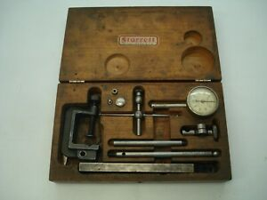 Starrett No 196 Dial Test Indicator Set With wood Case