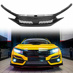 For 19 20 Honda Civic T r Style Glossy Black Front Bumper Mesh Grille Abs