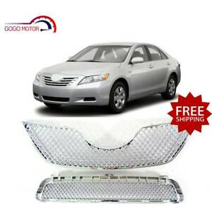 Fits For 2007 2009 Toyota Camry Front Upper lower Mesh Grille Chrome Grill