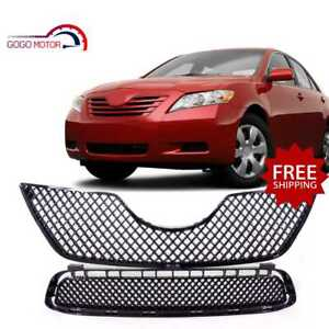 Fits For 2007 2009 Toyota Camry Front Upper lower Mesh Grille Glossy Black Grill