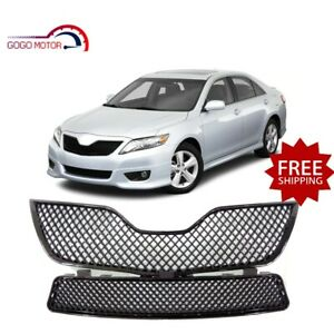 Fits For 2010 2011 Toyota Camry Front Upper lower Mesh Grille Gloosy Black Grill