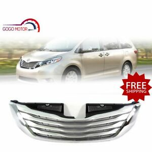 Fits For 2012 2017 Toyota Sienna Front Upper Grille Sliver chrome Grill
