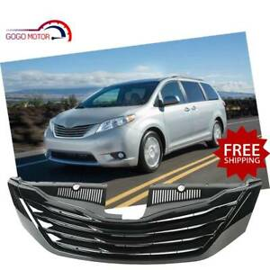 Fits For 2012 2017 Toyota Sienna Front Upper Grille Glossy Black Grill