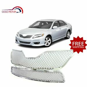 Fits For 2010 2011 Toyota Camry Front Upper lower Mesh Grille Chrome Grill