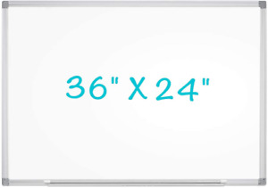 White Board Wall Hanging 36 X 24 inch With Marker Tray Lightweight Silver Frame