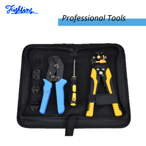 Automatic Wire Cutter Crimpers Ratcheting Terminal Crimping Pliers Tools 4 In 1