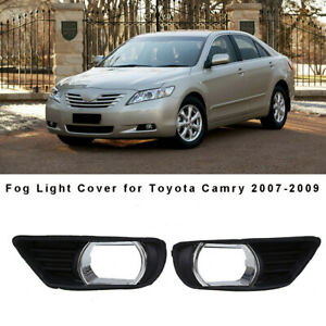 For 2007 2008 2009 Toyota Camry Black Front Bumper Fog Lights Covers Trim Pair