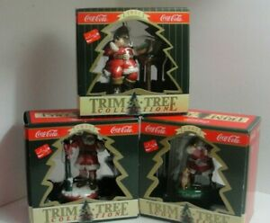 """Lot of 3 Collectible Coca Cola Christmas Ornaments """"Trim A Tree """"Collection #3"""