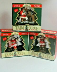 """Lot of 3 Collectible Coca Cola Christmas Ornaments """"Trim A Tree """"Collection #4"""