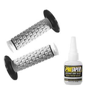 Pro Taper Tri Density Pillow Top White ATV Handlebar Grips with Flange with Glue