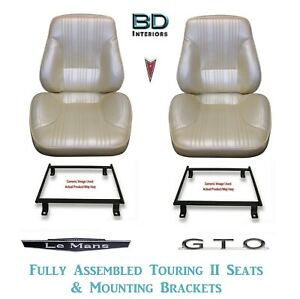 1967 Lemans Gto Touring Ii Front Bucket Seats Assembled Adapter Brackets