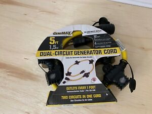 Generator 5 Power Cord Multi Outlet Extension Dual Circuit Genimax 12 gauge New