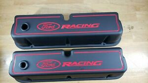 Proform 302 072 Black Steel Valve Covers Sbf Tall Red Ford Racing Logo