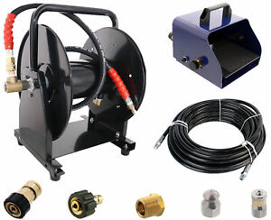 Scheiffer Sewer Jetter Kit Foot Pedal Hose Reel 1 4 X 150 Hose And Nozzles
