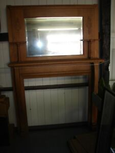 Antique Oak Fireplace Mantle With Shelves Beveled Mirror Refinished Nice