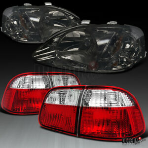 Honda 1999 2000 For Civic 4dr Sedan Smoke Headlights red clear Rear Tail Lamps