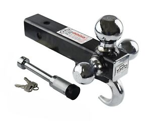 Toptow 2 Trailer Hitch Tri Ball Mount With Tow Hook hollow Shank with Lock