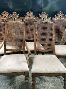 8 Mid Century Modern Vintage Cane Back Dining Room Chairs Thomasville