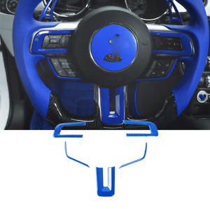 Car Steering Wheel Trim Frame Cover For Ford Mustang 2015 2020 Abs Blue 5p