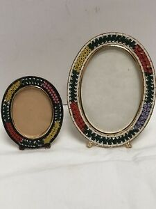 Vintage Mosaic Italian Picture Pair Frames Italy Metal Glass Oval