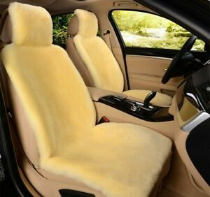 1pc Real Beige Pelt Sheepskin Fur Car Seat Cover One Size Fit Most Cars