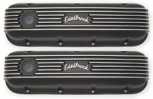 Edelbrock 41853 Classic Series Valve Cover Set Bbc Big Block Chevy Tall