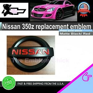 Nissan 350z 2003 2008 Jdm Black Red 370z Front Emblem New Matte Car Small Racing