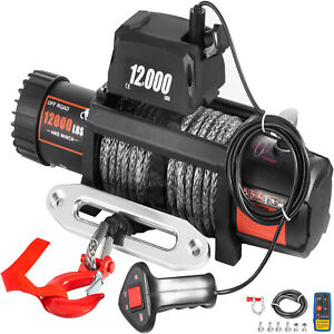 12000ibs Electric Winch 12v 85ft Synthetic Rope 4wd Atv Utv Winch Towing Truck