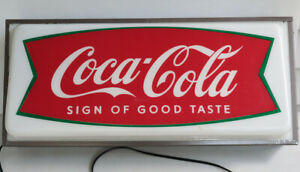 1960s Drink Coca Cola Fishtail Store Display LIGHT UP Sign