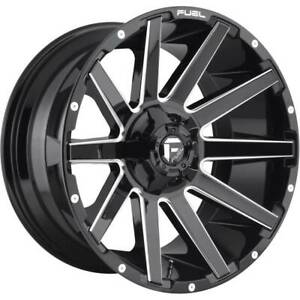 20x10 Gloss Black Milled Wheels Fuel D615 Contra 5x5 5 5x150 18 Set Of 4