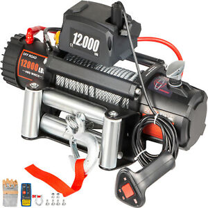 12000lbs Electric Winch 12v Steel Cable Off Road Atv Utv Truck Towing Trailer