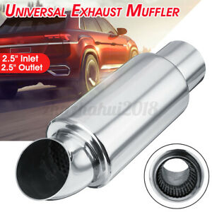 2 5 Inlet Outlet Car Exhaust Downpipe Muffler Pipe Tip Sound Resonator