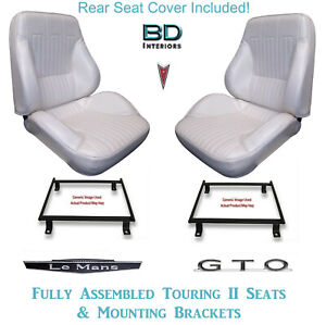 1968 Lemans Gto Convertible Touring Ii Bucket Seats Brackets Rear Cover