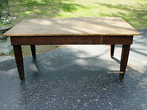 Red Pine Primitive Farmhouse Table Rustic Harvest Table W Scrubbed Top