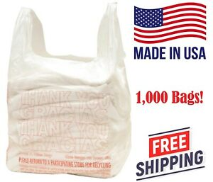 T Shirt Bags 1000 Plastic Grocery Shopping Carry Out Bags White Recyclable New