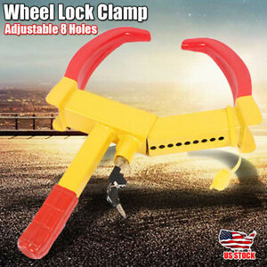 Anti Theft Wheel Lock Clamp Boot Tire Claw Parking Car Rv Trailer 8 Holes Safety