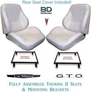 1969 Lemans Gto Convertible Touring Ii Bucket Seats Brackets Rear Cover