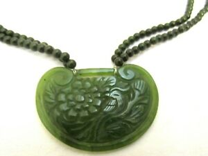 Antique Asian Chinese Carved Jade 2 Sided Pendant Jade Beaded Swag Necklace 23