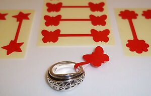 Red Butterfly Star Flower Jewellery Price Stickers Tags Labels Dumbells