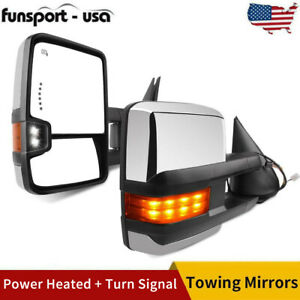 Pair Chrome Tow Mirrors Power Heated Signal For 99 02 Chevy Silverado Gmc Sierra