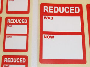 Bright Red Reduced Clearance Price Point Stickers Swing Tag Sticky Labels