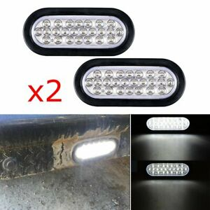 2x 6 Inch White Oval 24led Clear Backup Reverse Tail Trailer Light Grommet Plug