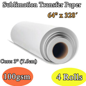 4rolls 100gsm 64 X 328 High Tacky Sticky Coated Sublimation Transfer Paper