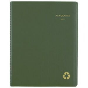 At a glance Weekly monthly Planner 8 1 4 X 11 Green 2021 70950g60
