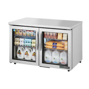 True Tuc 48g hc fgd01 Two Section Glass Door Undercounter Refrigerator