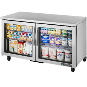True Tuc 60g hc fgd01 Two Section Glass Door Undercounter Refrigerator