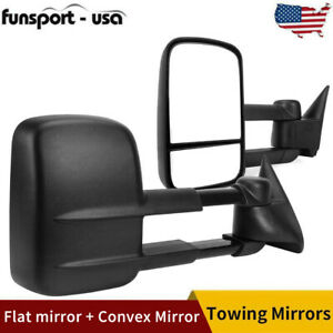 Pair Power Tow Side Mirrors For 88 98 Chevy C K 1500 2500 3500 Manual Telescopic