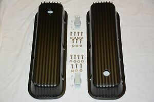 Big Block Chevy Tall Black Finned Valve Covers Aluminum 396 427 454 502 Bbc