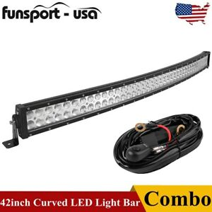 Curved 42inch Led Work Light Bar Spot Flood Combo Driving Lamp Off road Wiring
